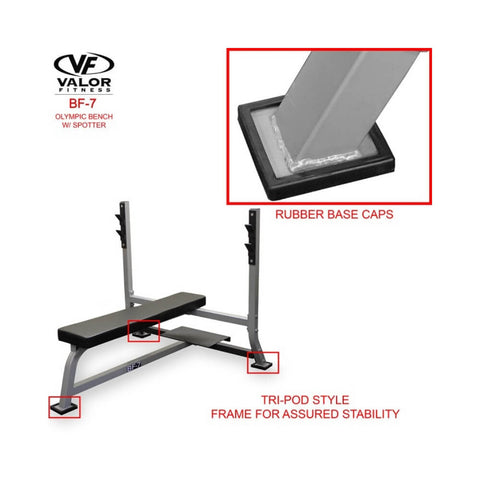 Valor BF-7 Olympic Bench w/ Spotter Rubber Base