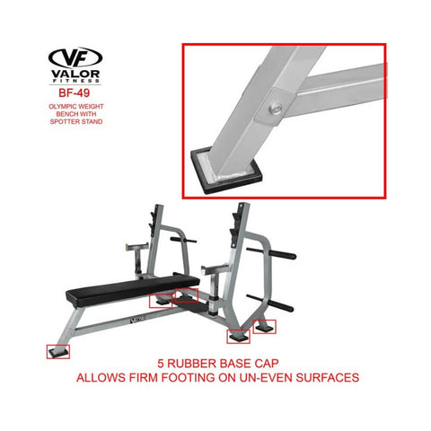 Valor Fitness BF-49 Olympic Weight Bench with Spotter Stand Adjustable View