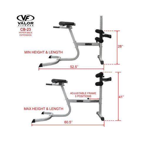 Valor Fitness  CB-23  Hyper Back Extension Length and Height