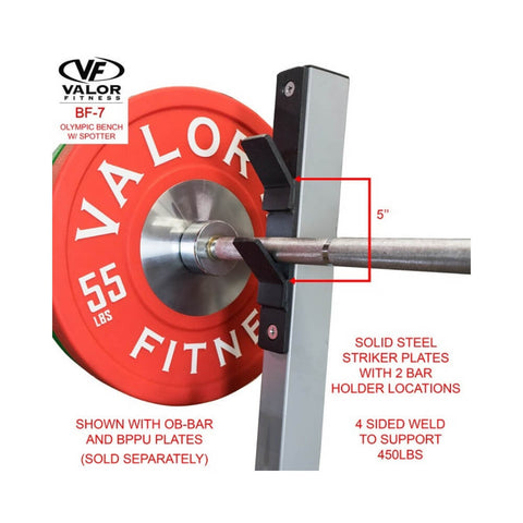 Valor BF-7 Olympic Bench w/ Spotter With Bar Holder