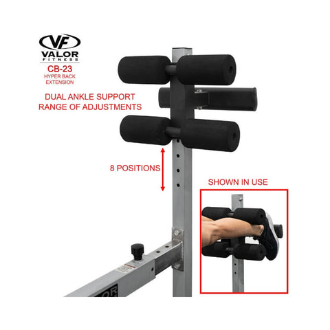 Valor Fitness  CB-23  Hyper Back Extension Ankle Support Adjustment