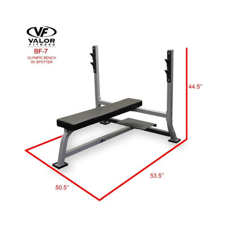 Valor BF-7 Olympic Bench w/ Spotter With Side View Dimension