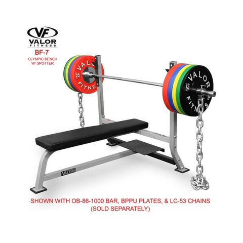 Valor BF-7 Olympic Bench w/ Spotter with Bar Plates and Chains