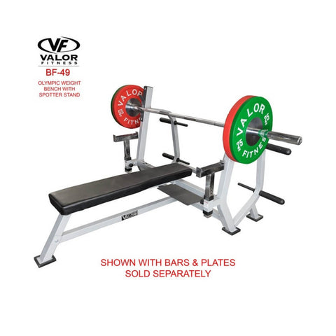 Valor Fitness BF-49 Olympic Weight Bench with Spotter Stand Bars and Plate