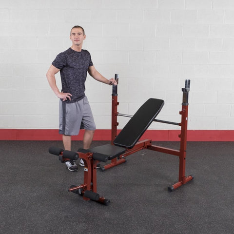 Best Fitness BFOB10 Folding Olympic Bench with Leg Developer Standing