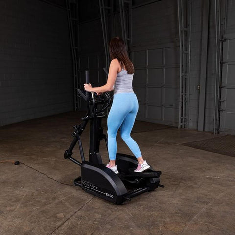 Body-Solid Endurance E400 Center Drive Elliptical Back Side view Far