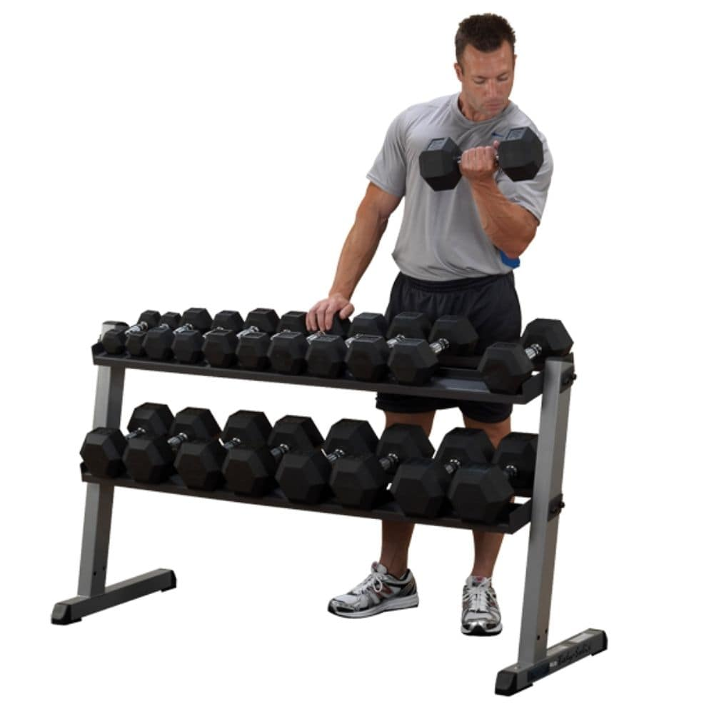 Body-Solid GDR60 Pro Dumbbell Rack 3D View With DB Bicep Curl
