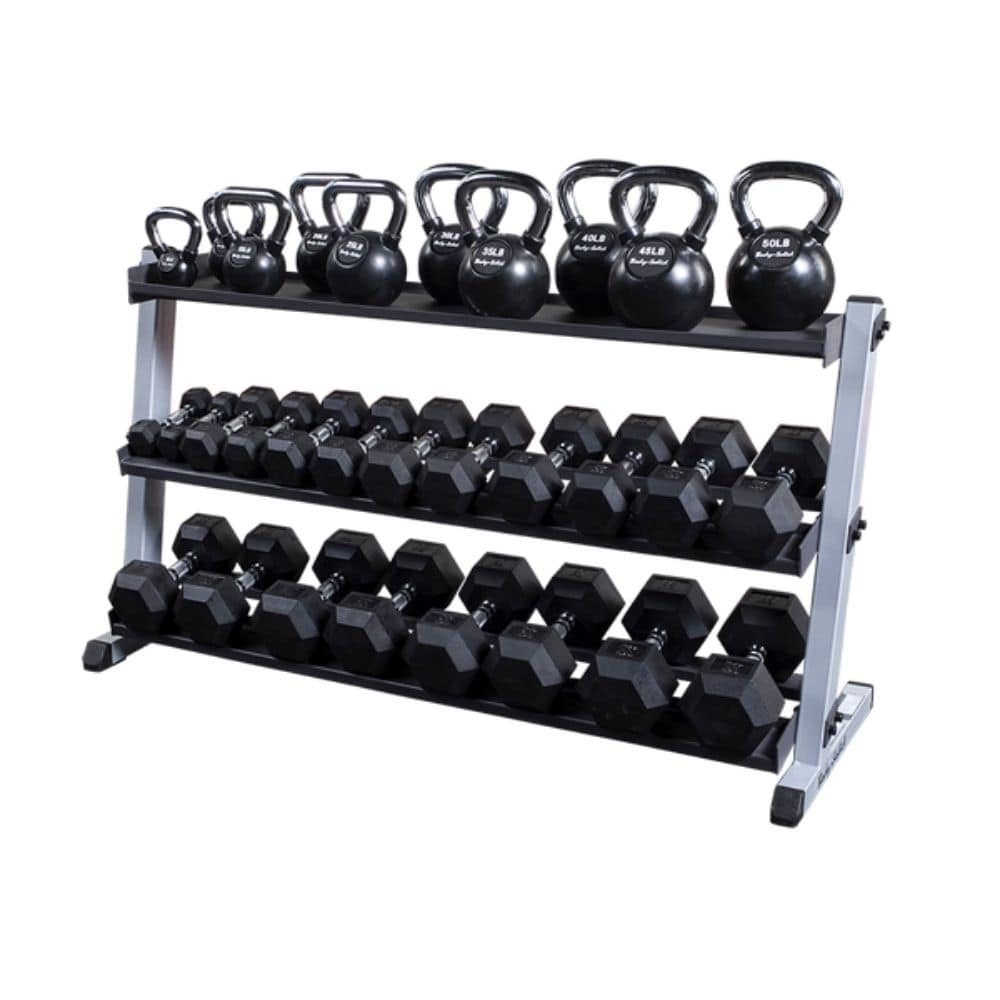 Body-Solid GDR60 Pro Dumbbell Rack With Optional Tray And Black KB And Hex DB