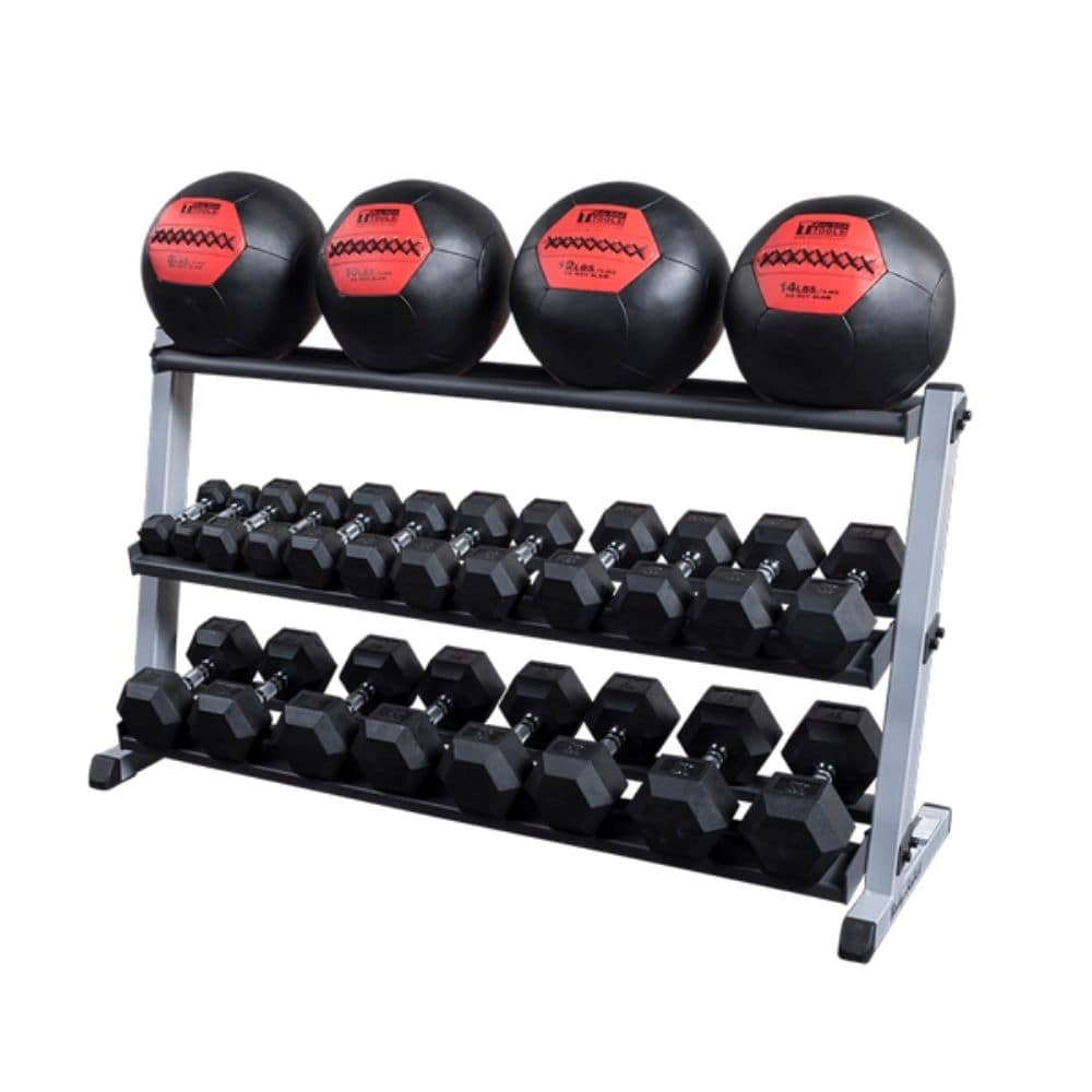Body-Solid GDR60 Pro Dumbbell Rack With Optional Tray And Black MB And Hex DB