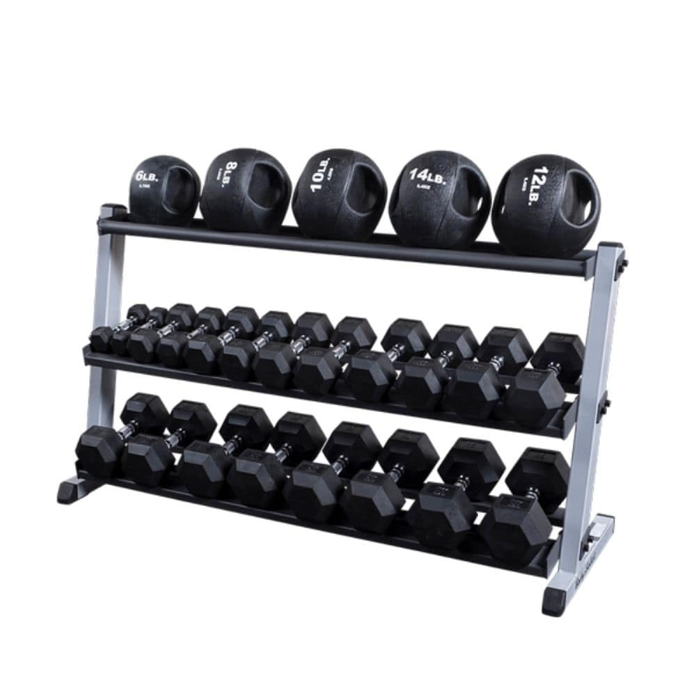 Body-Solid GDR60 Pro Dumbbell Rack With Optional Tray And Different Black MB And Hex DB