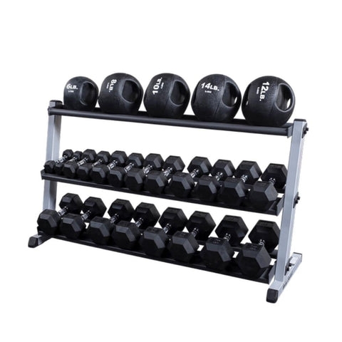 Image of Body-Solid GDR60 Pro Dumbbell Rack With Optional Tray And Different Black MB And Hex DB