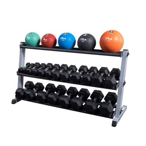 Image of Body-Solid GDR60 Pro Dumbbell Rack With Optional Tray And Different MB And Hex DB