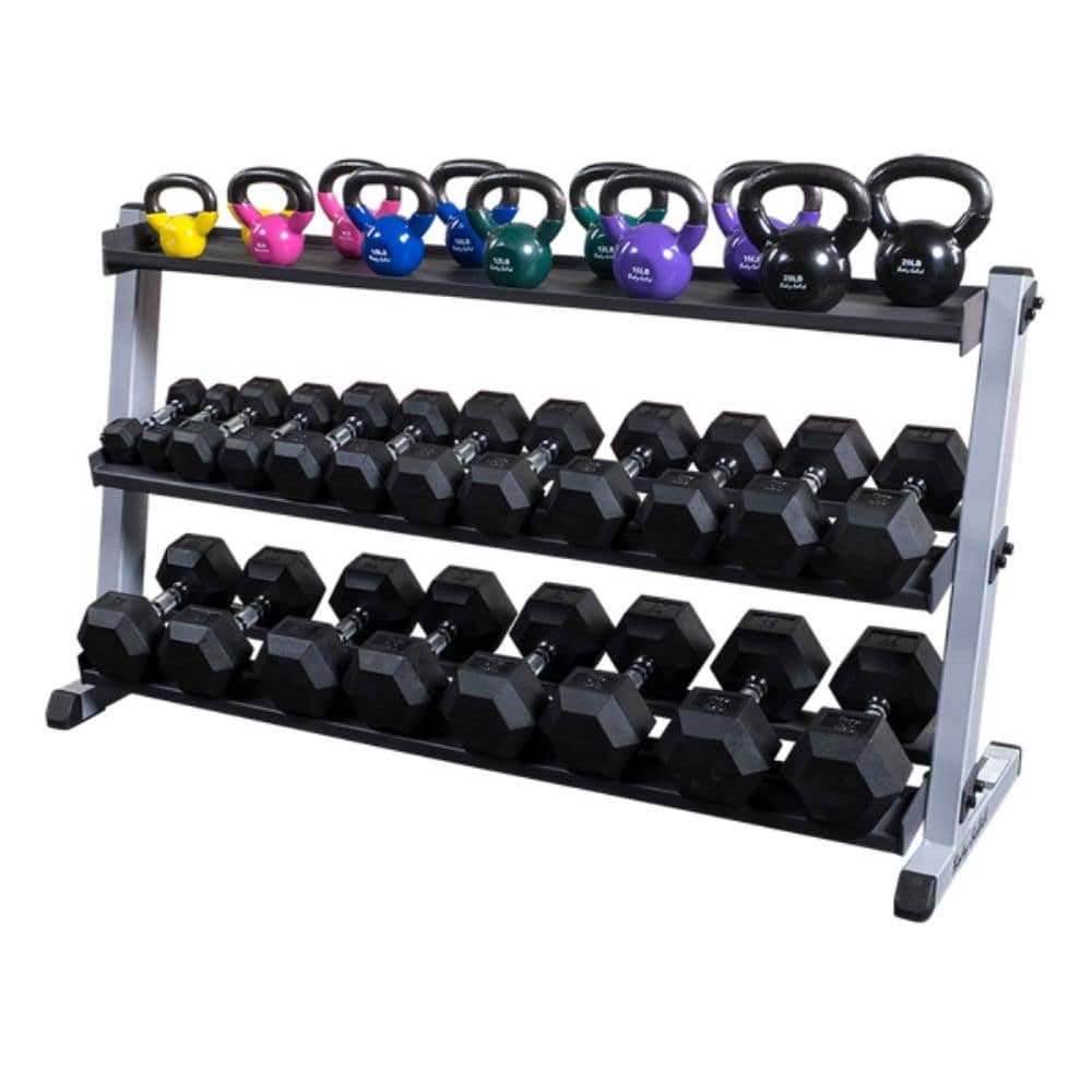 Body-Solid GDR60 Pro Dumbbell Rack With Optional Tray And KB And Hex DB