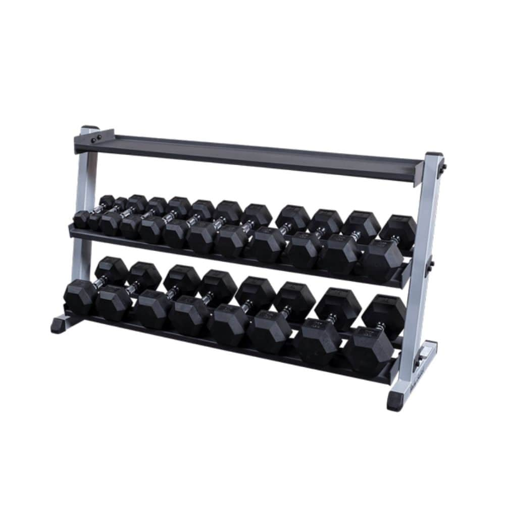 Body-Solid GDR60 Pro Dumbbell Rack With Optional Tray And Top Empty And Hex DB