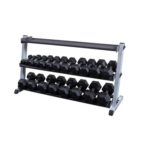 Image of Body-Solid GDR60 Pro Dumbbell Rack With Optional Tray And Top Empty And Hex DB