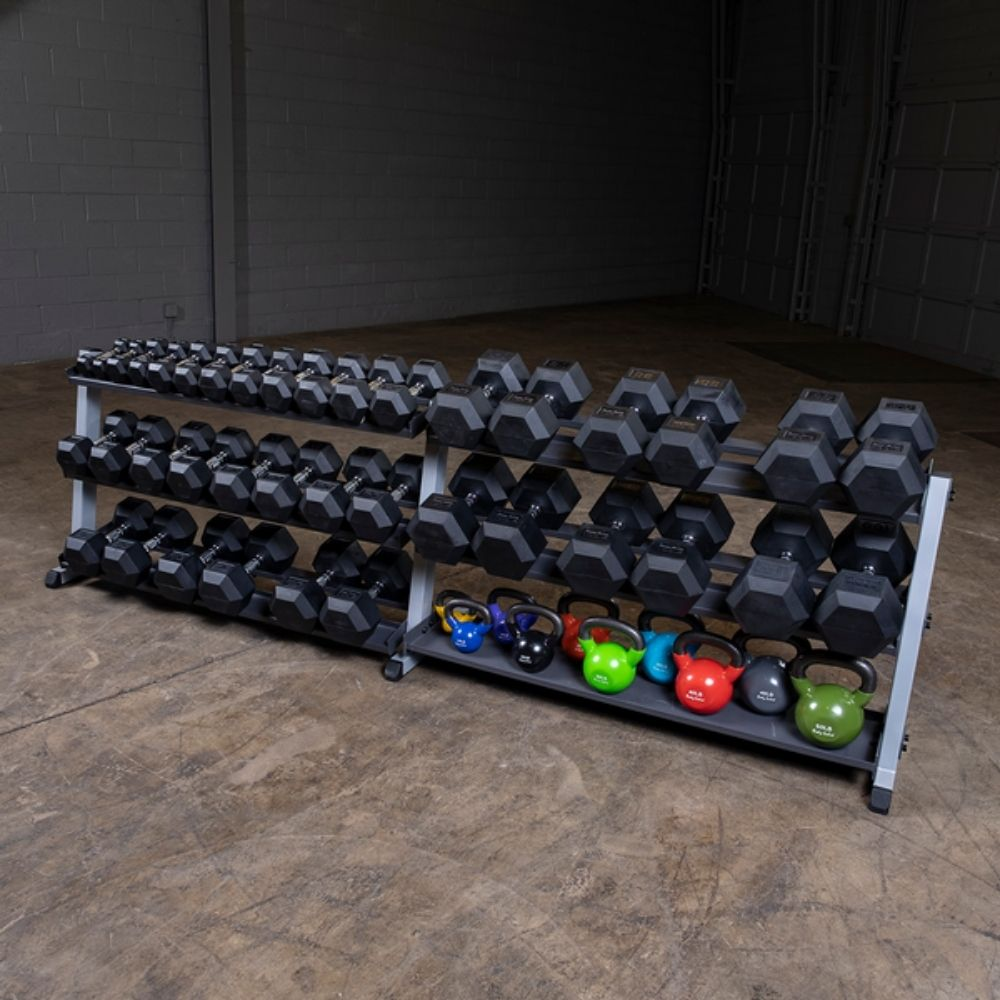 Body-Solid GDR60 Pro Dumbbell Rack With Optional Tray Loaded Different KB And DB