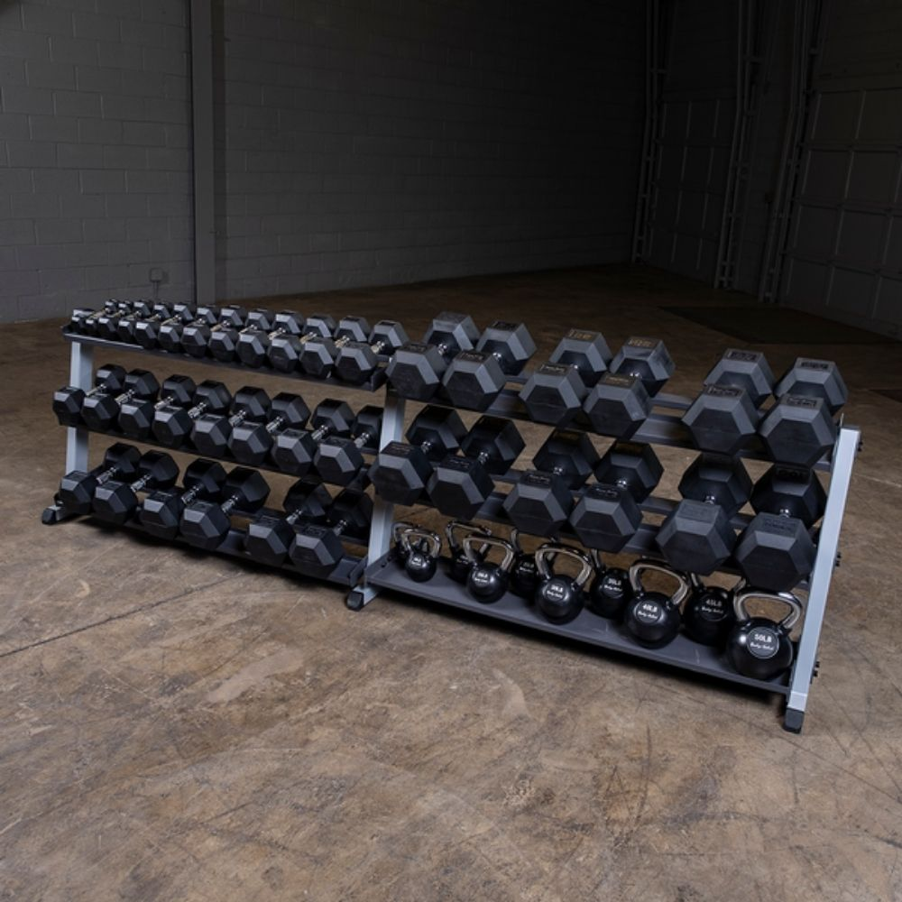 Body-Solid GDR60 Pro Dumbbell Rack With Optional Tray Loaded KB And DB