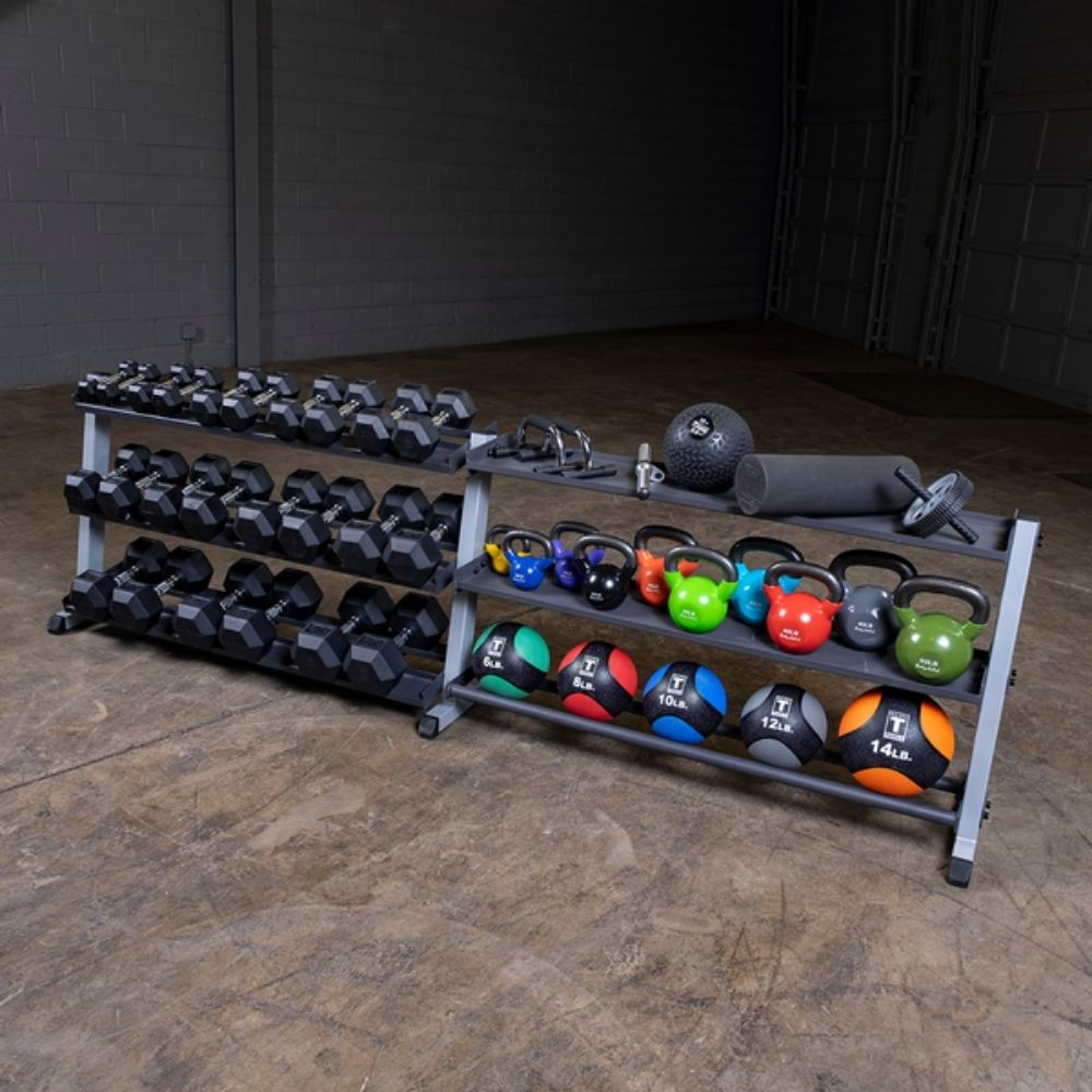 Body-Solid GDR60 Pro Dumbbell Rack With Optional Tray Loaded
