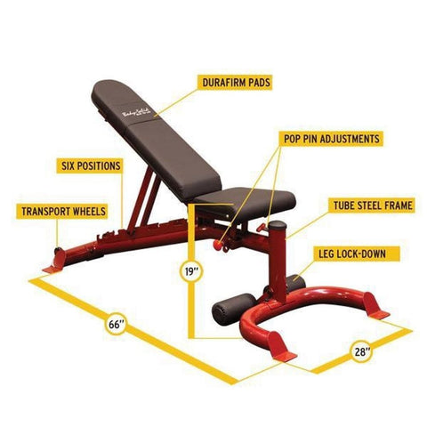 Image of Body-Solid GFID100 Flat Incline Decline Bench Dimension