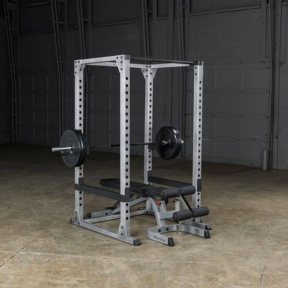 Body-Solid GPR378 Pro Power Rack 3D View With Bench