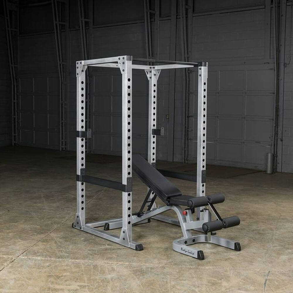 Body-Solid GPR378 Pro Power Rack 3D View With Incline Bench