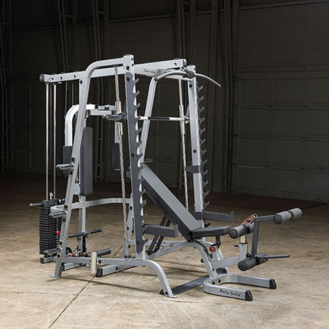 Image of Body-Solid GS348QP4 Series 7 Smith Machine Gym Front Side View