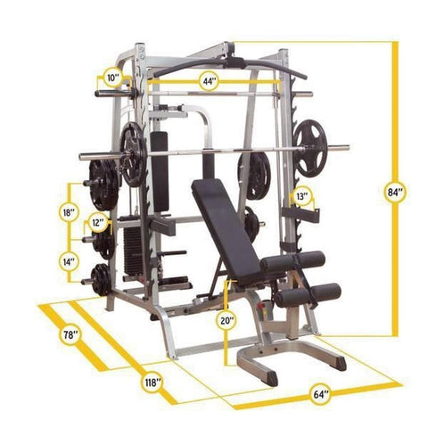 Body-Solid GS348QP4 Series 7 Smith Machine Gym Tech Spec
