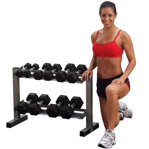 Body-Solid Powerline PDR282X Two Tier Dumbbell Rack Front View