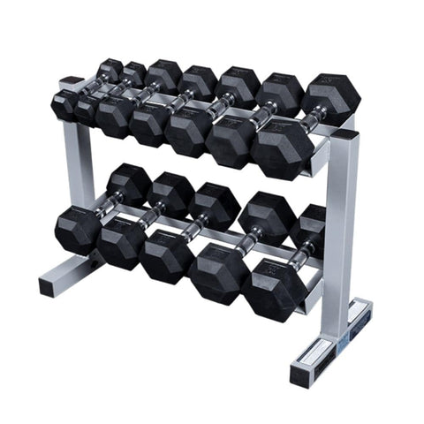 Body-Solid Powerline PDR282X Two Tier Dumbbell Rack With Hex DBs
