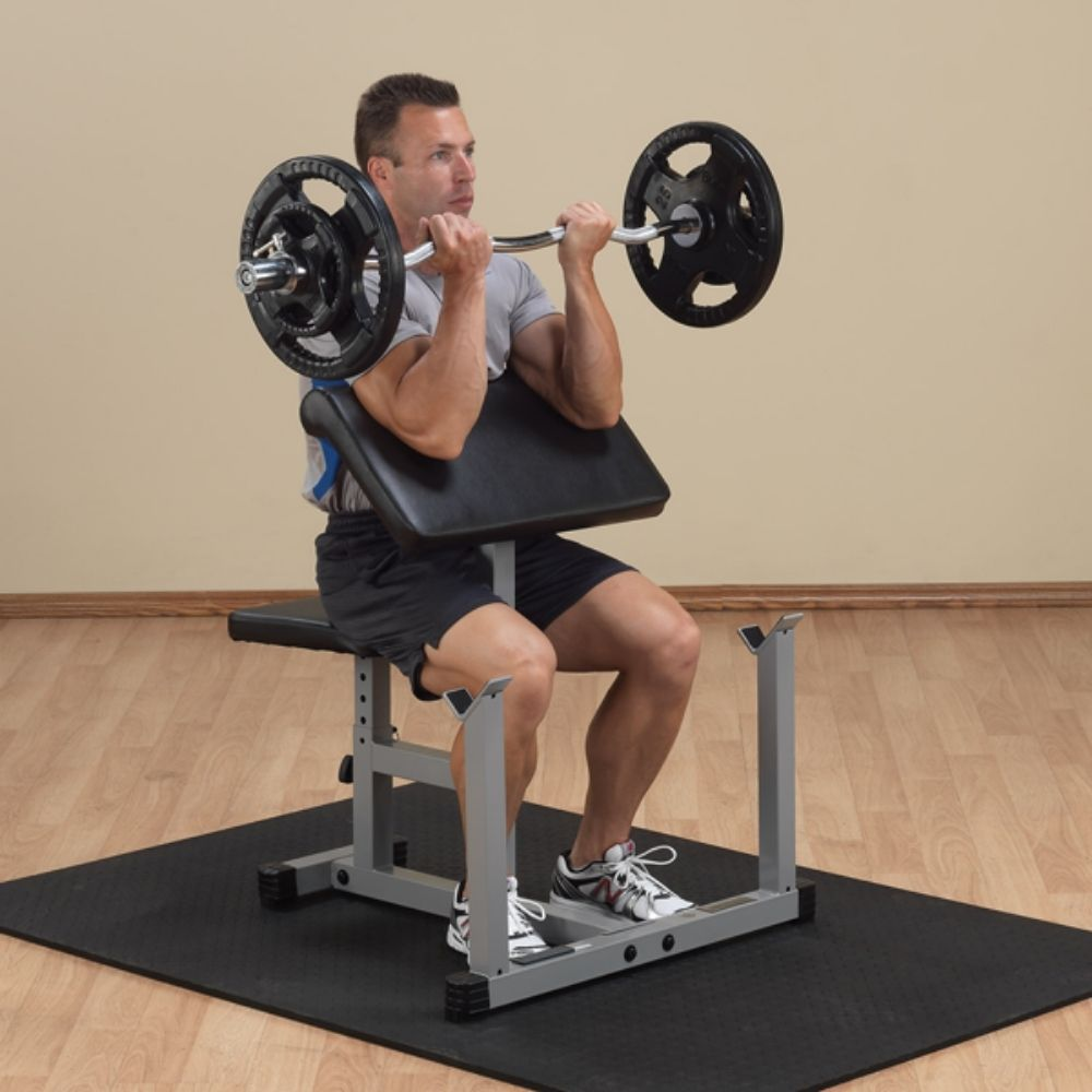 Body-Solid Powerline PPB32X Preacher Curl Bench 3D View With Mat And Model