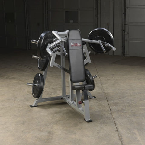 Body-Solid ProClub LVSP Leverage Shoulder Press Front View With Plates