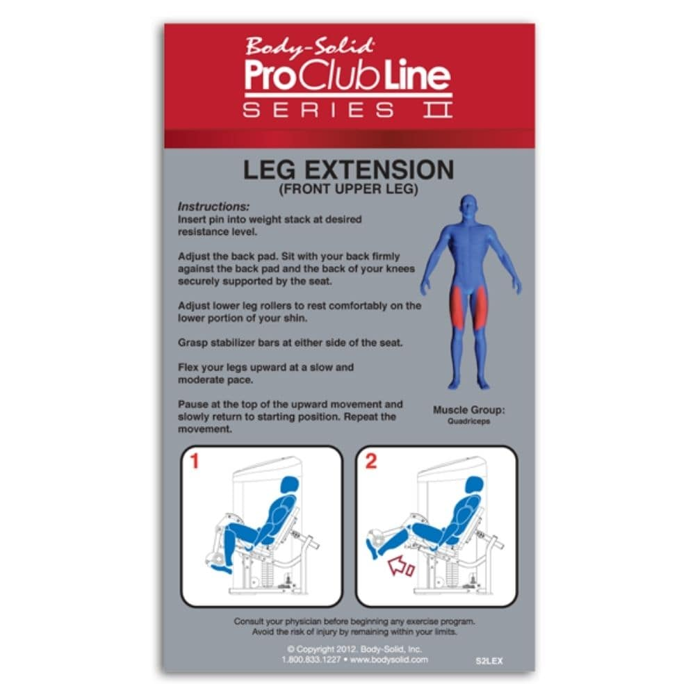 Body-Solid ProClub S2LEX Series II Leg Extension Features