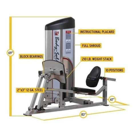 Body-Solid ProClub S2LPC Series II Leg Press & Calf Raise Tech Specs