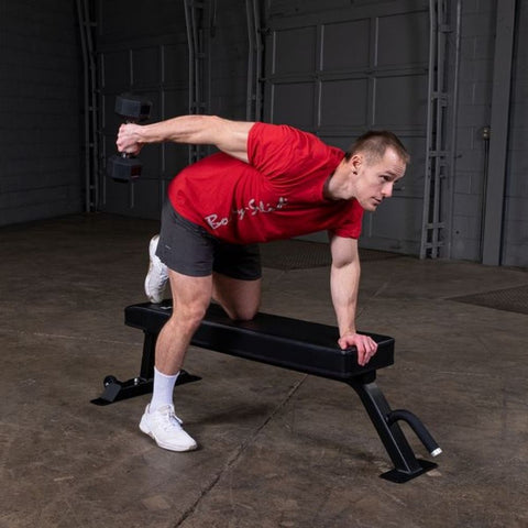 Body-Solid Pro Clubline SFB125 Flat Bench Exercise Prone Tricep Curl Male