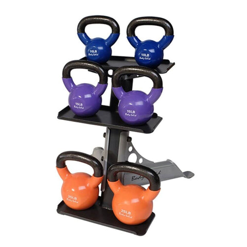 Body-Solid GDKR50 Compact Kettlebell Rack With Kettlebells Ascending