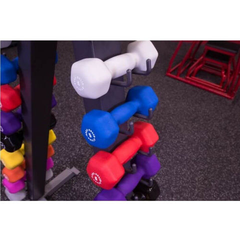 Body-Solid GDR24-VPACK 12 Pair Vinyl Dumbbells With Rack With Vinyl Left Side
