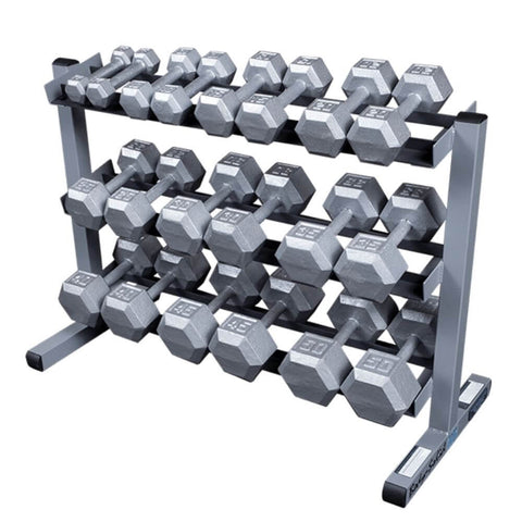 Image of Body-Solid GDR363 3 Tier Dumbbell Rack Silver Dumbbells