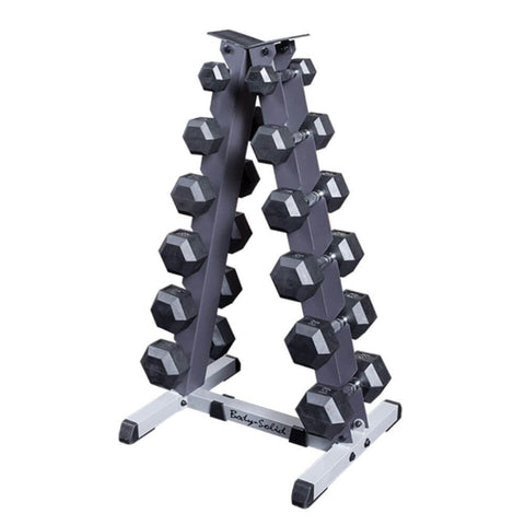 Body-Solid GDR44 2 Tier Vertical Dumbbell Rack With Dumbbells