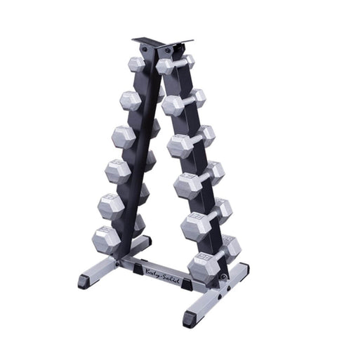 Body-Solid GDR44 2 Tier Vertical Dumbbell Rack With Hex Dumbbells