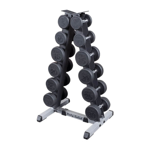 Image of Body-Solid GDR44 2 Tier Vertical Dumbbell Rack With Rubber Coated Hex DUmbbells