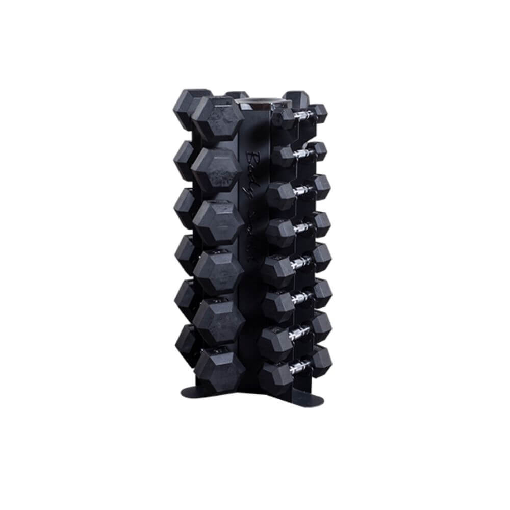 Body-Solid GDR80 Vertical Dumbbell Rack With Rubber Coated Hex Dumbbells