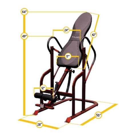 Body-Solid GINV50 Inversion Table Dimensions