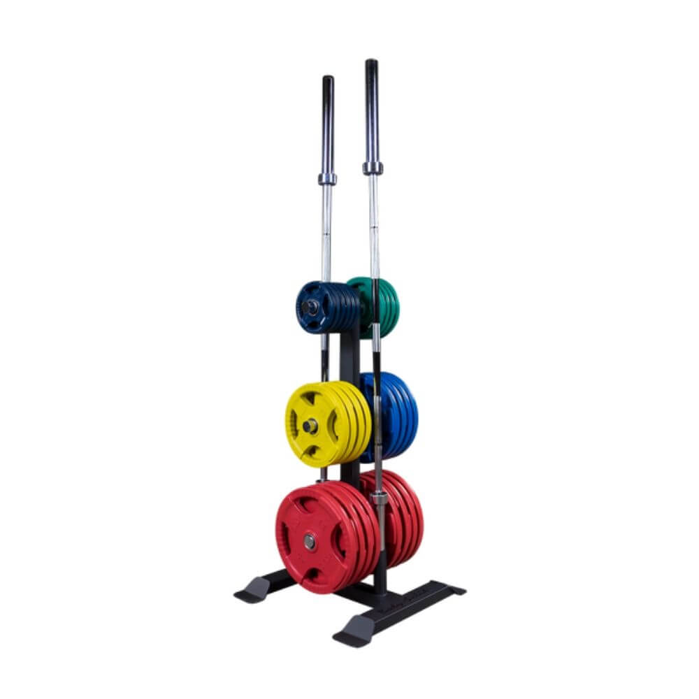 Body-Solid GWT56 Olympic Weight Tree and Bar Holder With Colored Plates