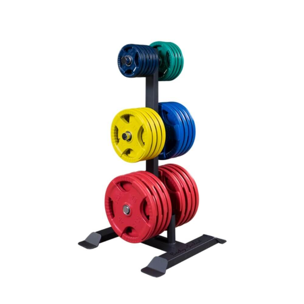 Body-Solid GWT56 Olympic Weight Tree and Bar Holder With Different Plates