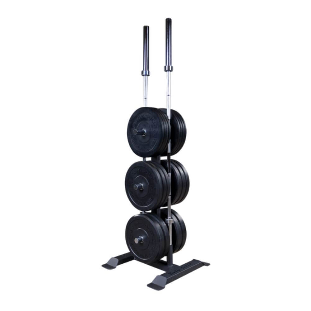 Body-Solid GWT56 Olympic Weight Tree and Bar Holder With Plates