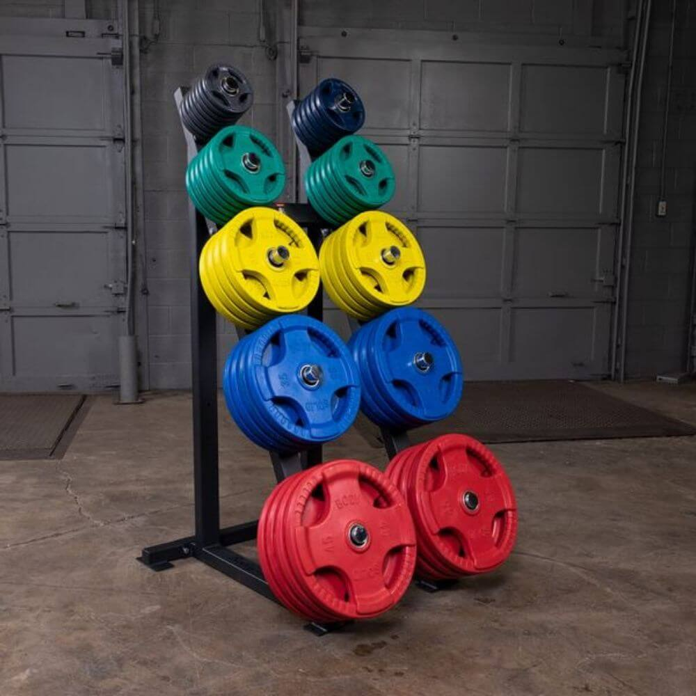 Body-Solid GWT76 Capacity Olympic Weight Tree 5 Tier Colored Plates