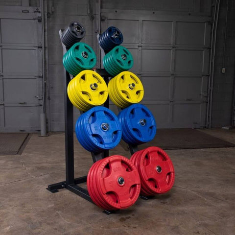 Image of Body-Solid GWT76 Capacity Olympic Weight Tree 5 Tier Colored Plates