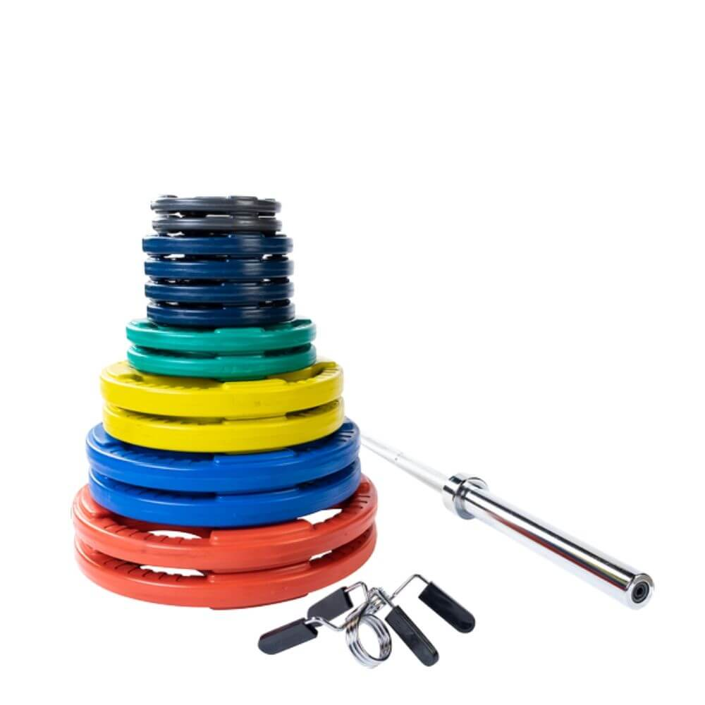 Body-Solid ORC Colored Rubber Grip Plate & Barbell Set 300s