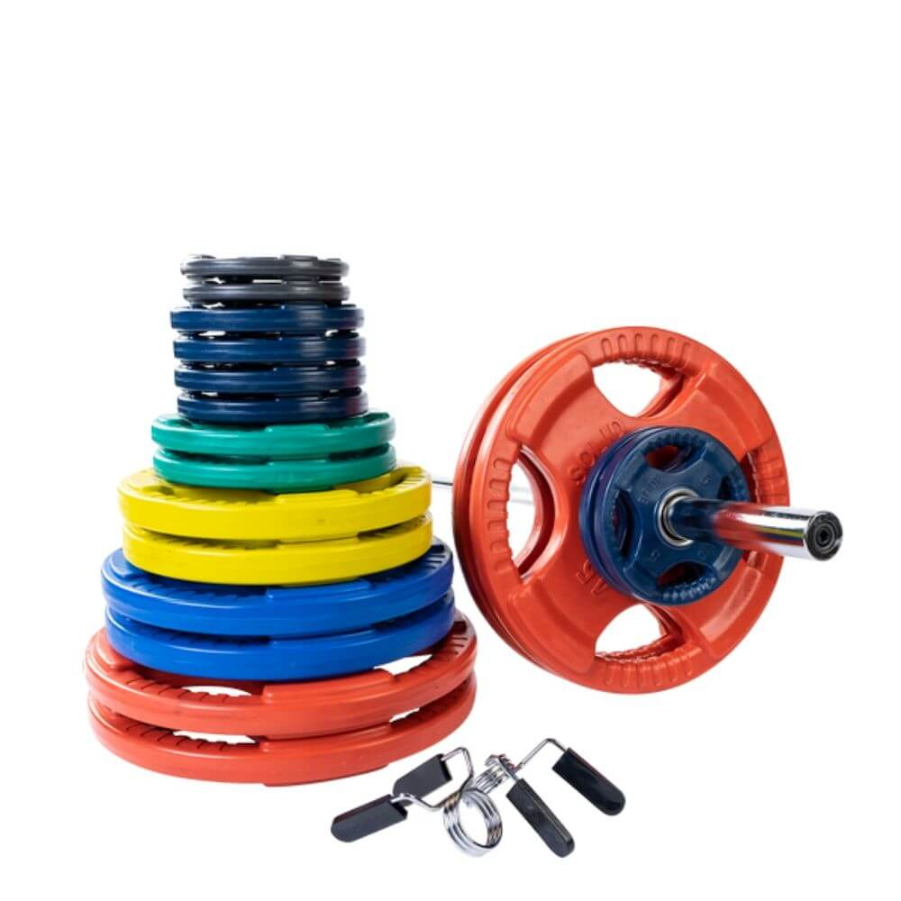 Body-Solid ORC Colored Rubber Grip Plate & Barbell Set 400s