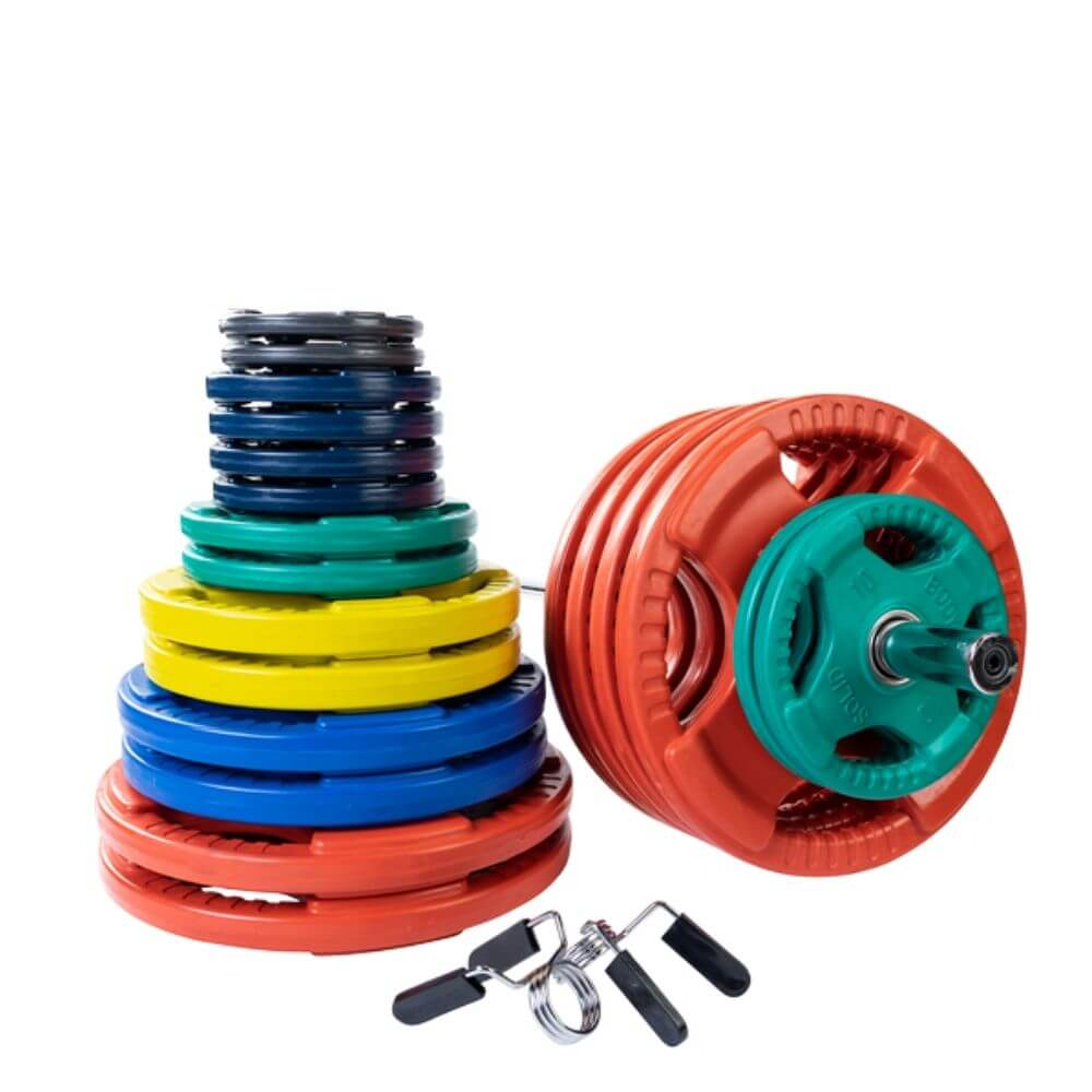 Body-Solid ORC Colored Rubber Grip Plate & Barbell Set 500s